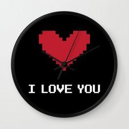 I love you pixel Wall Clock