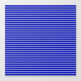 Royal Blue and White Horizontal Stripes Canvas Print