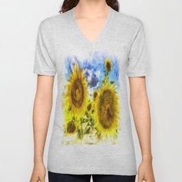Summers Day Sunflowers Art Unisex V-Neck