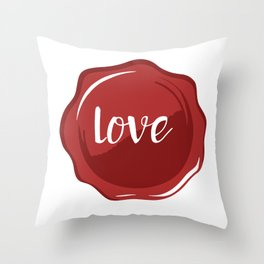 LOVE WAX SEAL - Valentines Day Throw Pillow