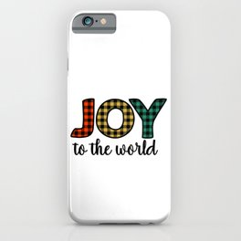 Joy To The World Plaid Pattern Christmas Holiday iPhone Case