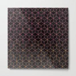Ombré Rose Gold Cubes Metal Print