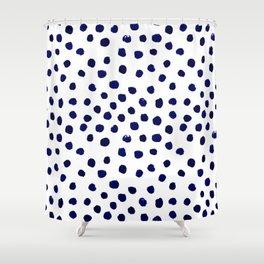 Mini dots painterly brushstrokes boho modern indigo blue and white preppy nautical dorm college art Shower Curtain