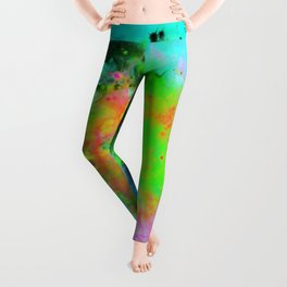 Colour Magic - Abstract painting in cyan, blue, yellow, black and green Leggings