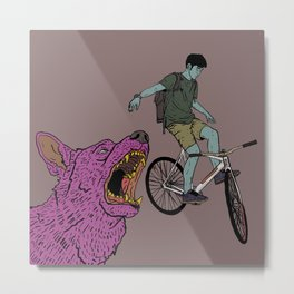 Track stand and wolf Metal Print
