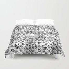 Patchwork pattern -  Quilt Design - black and white illustration Duvet Cover