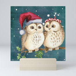 Cute Christmas Winter Owl Couple Painting Mini Art Print