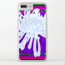 WHITE SPIDER  MUM ON PURPLE-GREEN  PATTERN Clear iPhone Case