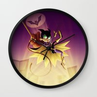 batgirl Wall Clocks featuring Batgirl by Eileen Marie Art