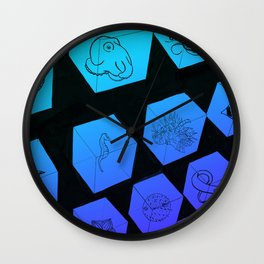 Sea Creature Cubes Wall Clock