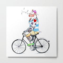 """""""Ginger Biker"""" Metal Print"""
