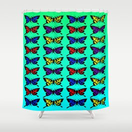 A Butterfly Pattern Shower Curtain