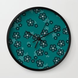 Hello spring Japanese cherry blossom love teal Wall Clock