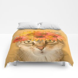 Tabby Cat with Daisy Flower Crown, Mustard Yellow Background Comforters