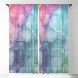Yellow Pink Purple Blue and Green Abstract 22 Alcohol Ink Painting by Herzart Sheer Curtain