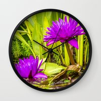 lotus flower Wall Clocks featuring Lotus  by Karl-Heinz Lüpke