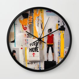 PUKE HERE Wall Clock