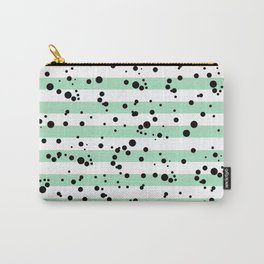 Pastel Goth - Mint Stripes and Black Splatter Carry-All Pouch