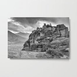 One of the famous Meteora Monasteries, Greece. Black and white image. Metal Print