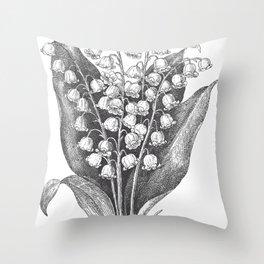 Vintage Snowdrops Throw Pillow