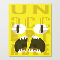 lemongrab Canvas Prints featuring Lemongrab Typography by Aaron Bowersock
