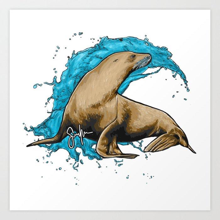 Sea lion Art Print