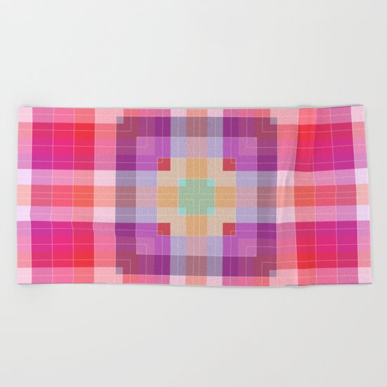 Bright Pink Geometric Beach Towel