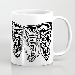 Black and White Elephant Butterfly Tribal Tattoo Coffee Mug