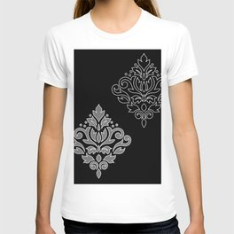 Scroll Damask Art I Wt Line Gray Blk T-shirt