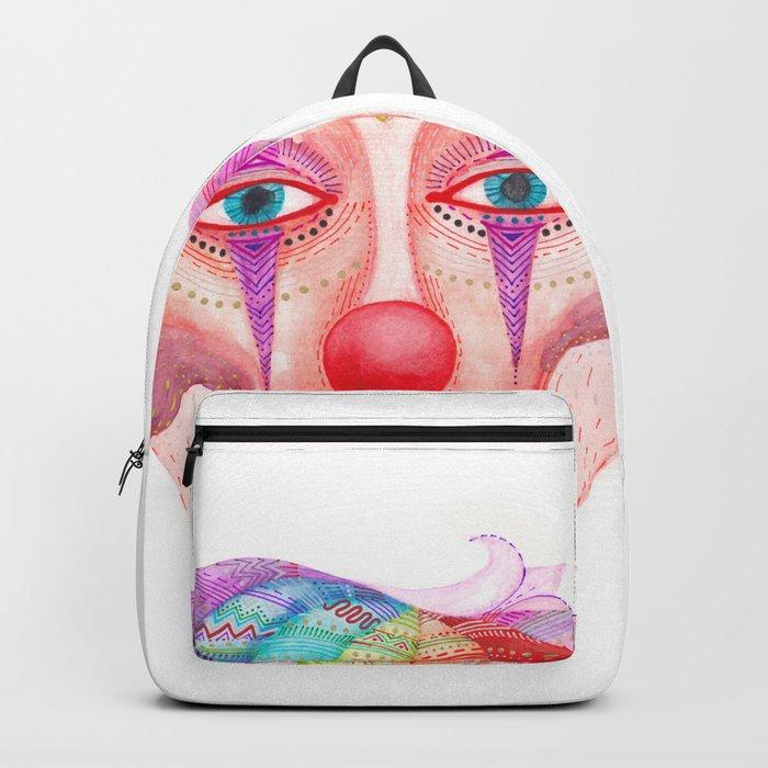 trust the clown mask portrait Backpack