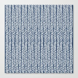 Knit Wave Navy Canvas Print