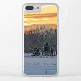 Winter Landscape Sunset Clear iPhone Case