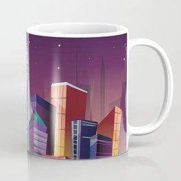 Gotham City at Night - Kitschy Cartoon New York City Manhattan Coffee Mug