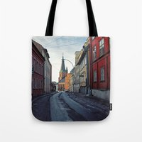 oslo Tote Bags featuring Oslo street by Lauren Cassidy