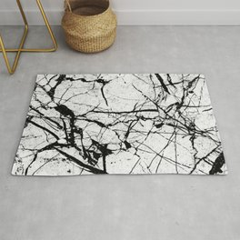 Dusty White Marble - Textured Black And White Rug