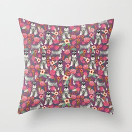 Schnauzer floral dog breed must have gifts for schnauzers Throw Pillow