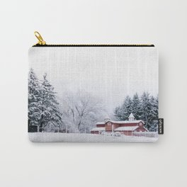Winter Red Barn and Pine Trees in Minnesota Carry-All Pouch
