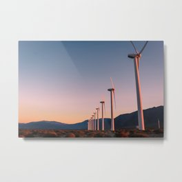California Desert Windmills at Sunset with Mountain Vistas Metal Print