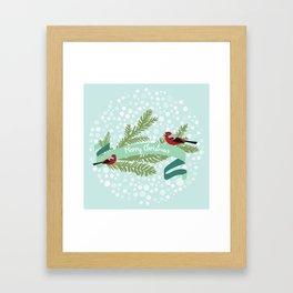 Bullfinches sitting on conifer branch Framed Art Print