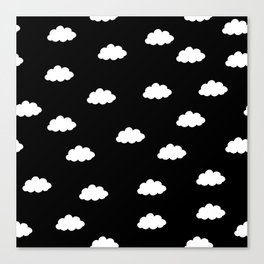 White clouds in black background Canvas Print