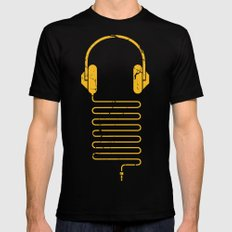 Gold Headphones X-LARGE Black Mens Fitted Tee