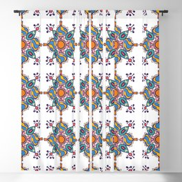 Colorful geometric ethnic motive mandala tile Blackout Curtain