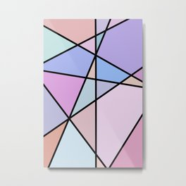 Multicolor Geometric Lines and Shapes Metal Print