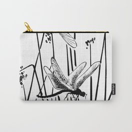 Minimal Art Flower Field Dragonflies White Carry-All Pouch