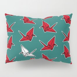 PAPER CRANES RED WHITE AND BLUE Pillow Sham