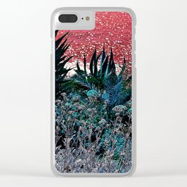 alien landscape indigo orange surrealist sunset on the beach Clear iPhone Case