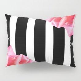 Pink roses on black and white stripes Pillow Sham