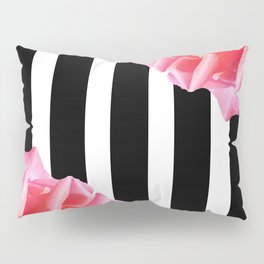 Pink roses on black and white stripes Pillow Sham