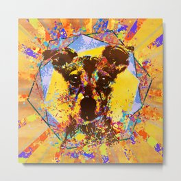 Jack Russell Terrier Abstract Mixed Media Metal Print