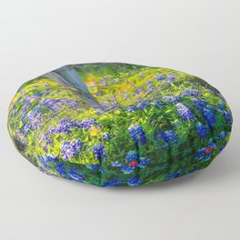 Country Living - Fence Post and Vines Among Bluebonnets and Indian Paintbrush Wildflowers Floor Pillow